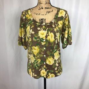 Ann Taylor Loft floral short sleeve cardigan L